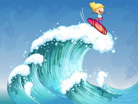 Illustration of a girl surfing  Stock Illustratie