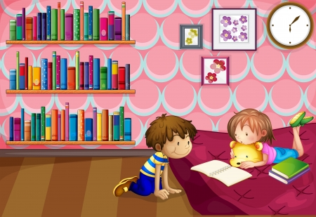 children story: Illustration of a girl and a boy reading inside a room