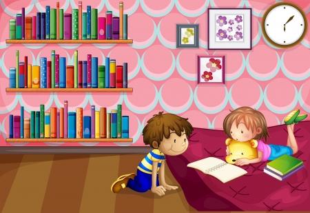 estudiar: Ilustración de una niña y un niño leyendo en una habitación
