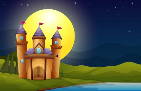 highness: Illustration of a castle in a full moon scenery