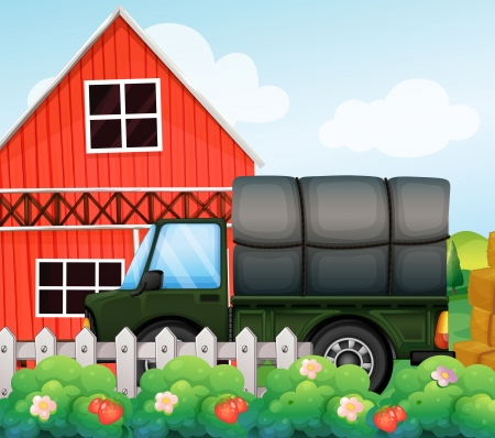 Illustration of a green cargo inside the fence  Vector