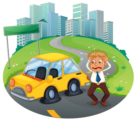 Illustration of a car accident in the curve road near the empty signboard on a white background Vector