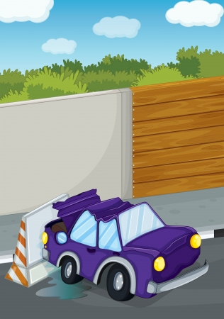Illustration of a violet car bumping the wall  Vector