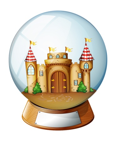 Illustration of a palace inside the crystal ball on a white background  Vector