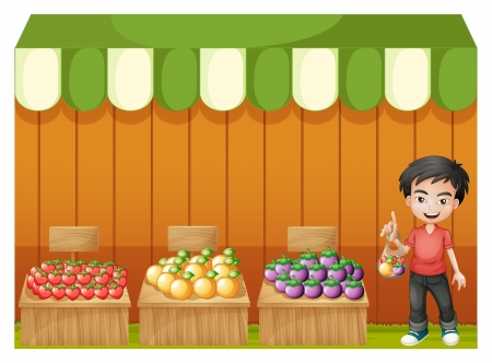 vendor: Illustration of a fruit shop with a young boy wearing a red shirt on a white background  Illustration
