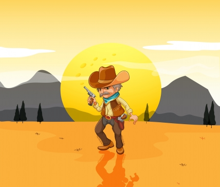 Illustration of a desert with an armed cowboy Vector