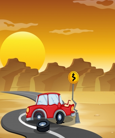 Illustration of a red car having an accident at the road Vector