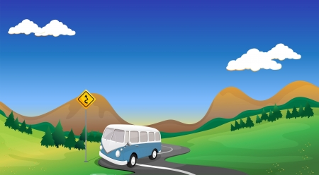 curve road: Illustration of a curve road with a bus
