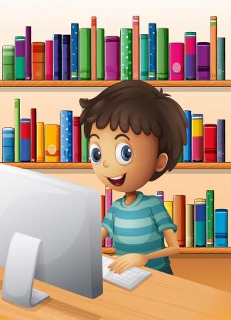 estudiando: Ilustración de un muchacho con el ordenador dentro de la biblioteca