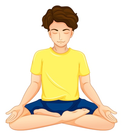 concentrating: Illustration of a guy performing yoga on a white background  Illustration
