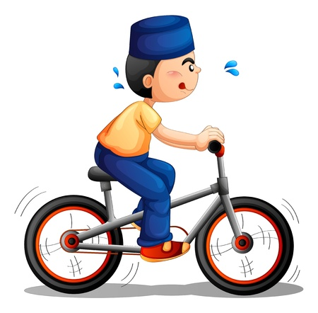 Illustration of a boy biking on a white background Vector