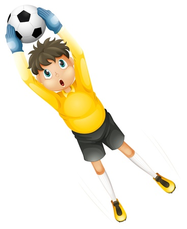 boys soccer: Illustration of a little football player catching the ball on a white background  Illustration