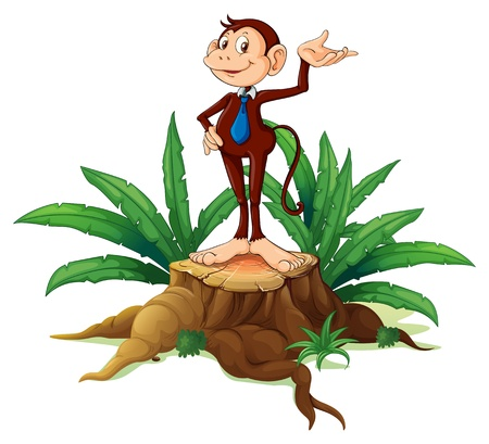 monkey suit: Illustration of a stump with an adult monkey on a white background