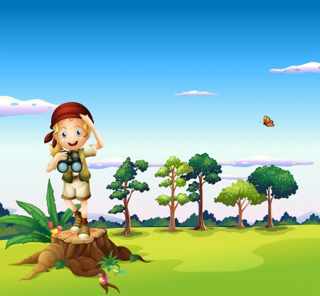 jungle girl: Illustration of a  girl with a telescope standing above a stump