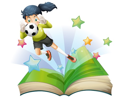 Illustration of a book with an image of a female football player on a white background  Vector