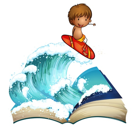 Illustration of an open book with a boy surfing on a white background Vector