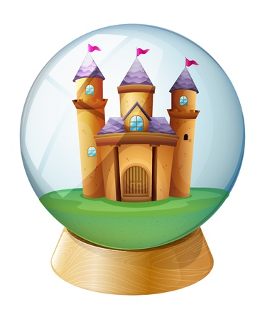 Illustration of a castle inside a crystal ball on a white background  Vector
