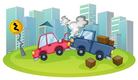 bump: Illustration of a car accident in front of the high buildings on a white background