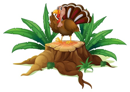 timber cutting: Illustration of a turkey standing on a stump with leaves on a white background