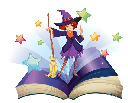 storyteller: Illustration of an open book with an image of a witch holding a broom on a white background