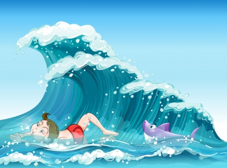 Illustration of a boy swimming with a shark at the back  Vector