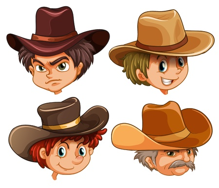 head gear: Illustration of the different faces of four cowboys on a white background