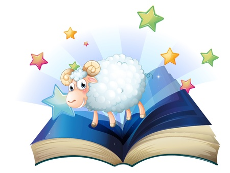Illustration of an open book with an image of a sheep on a white background Stock Vector - 20140554