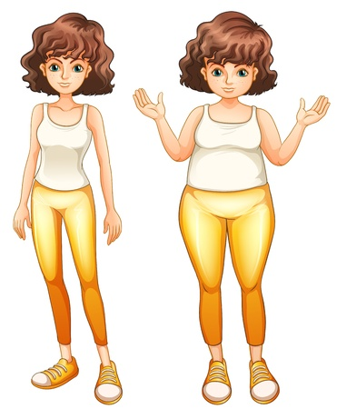 obese person: Illustration of a fat and a slim lady in their yellow pants on a white background
