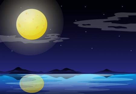 meteorites: Illustration of a moonlight scenery Illustration