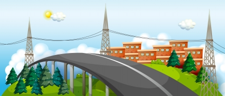 curve road: Illustration of a curve road in the city