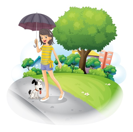 establishments: Illustration of a lady holding an umbrella with a dog along the road on a white background