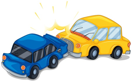 damage: Illustration of the two cars bumping on a white background  Illustration