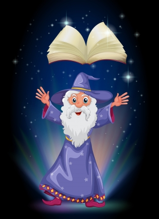 Illustration of a book above the wizard Stock Vector - 20140636