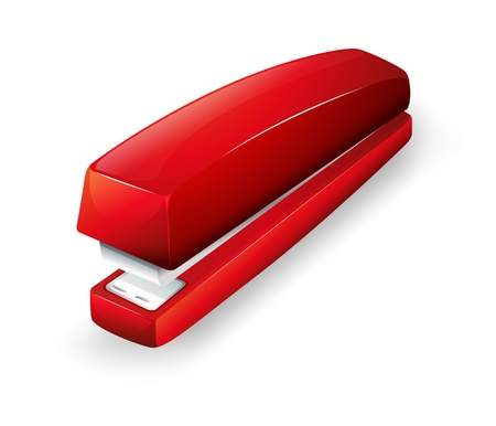 Illustration of a red stapler on a white background