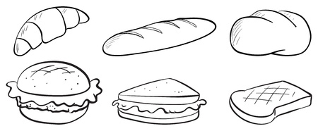 white bread: Illustration of the silhouettes of bread on a white background