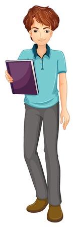 hombre flaco: Ilustración de un hombre sosteniendo un libro sobre un fondo blanco