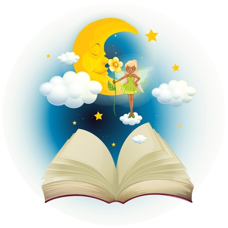 Illustration of an open book with an image of a fairy and a sleeping moon on a white background Stock Vector - 20140587