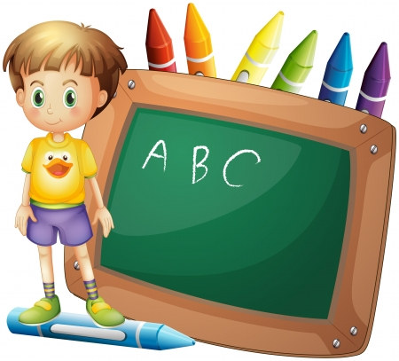 sides: Illustration of a boy beside a board with crayons at the back on a white background  Illustration