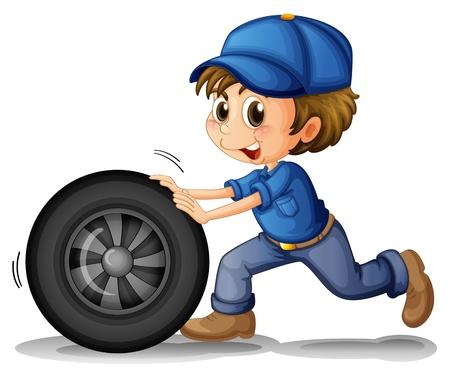 Illustratie van een jongen duwen van een wiel op een witte achtergrond Stock Illustratie