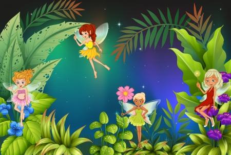 ochtend dauw: Illustratie van een tuin met vier feeën