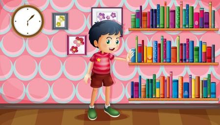 kütüphane: bir çocuğun lllustration kitapları ahşap raflar yanında duran Çizim