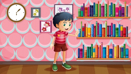 clock: lllustration of a boy standing beside the wooden shelves with books  Illustration
