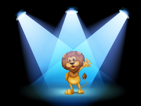 stageplay: Illustration of a stage with a lion waving in the middle
