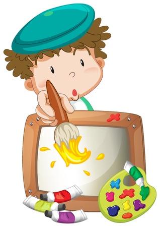 小さな男の子が、白い背景に絵画の図