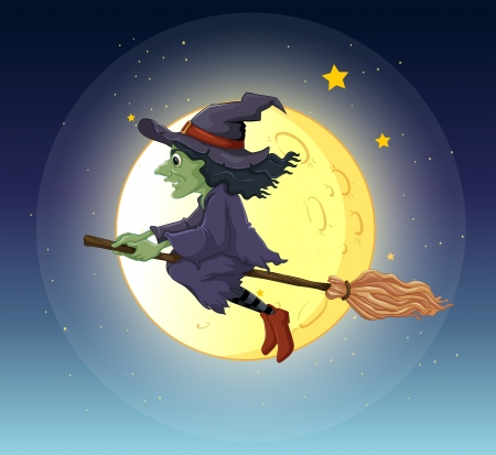 broomstick: Illustration of a witch riding with her broomstick