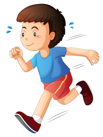 sweating: Illustration of a kid running on a white background Illustration