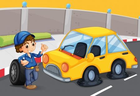 descuidado: Ilustra��o de um menino em p� na frente de um carro com um pneu furado