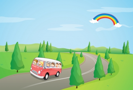 curve road: Illustration of a bus with kids running along the curve road