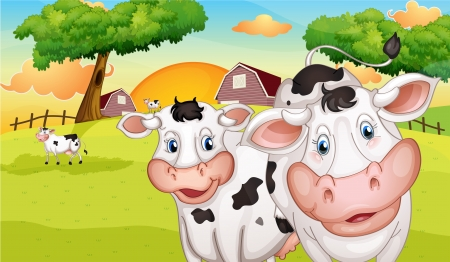 rootcrops: Illustration of a farm with many cows Illustration
