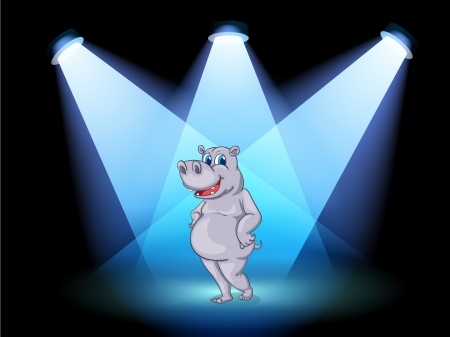 stageplay: Illustration of a stage with a hippopotamus standing in the middle